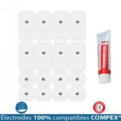 Pack 4 Jeux Électrodes Compatibles COMPEX Snap + 1 Gel